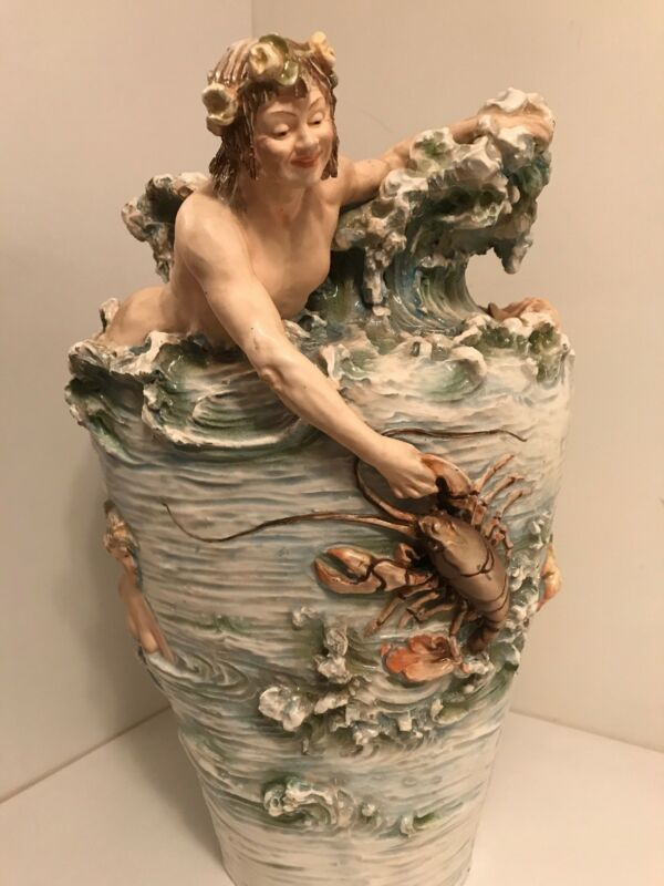 Royal Dux Merman Mermaid Vase