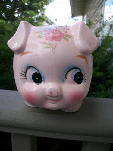 Vintage Lefton Anthropomorphic Floral Piggy Bank
