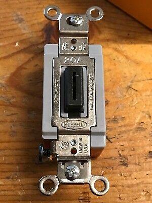 Hubbell Single Pole 20a 20 Amp Locking Toggle Switch W Key 120-277v Black Nos