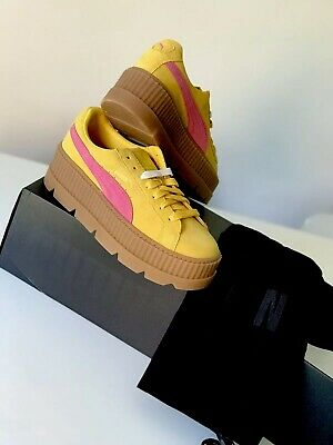 Puma X Fenty By Rihanna Cleated Creeper Lace Up Suede Yellow Trainers UK 4,5