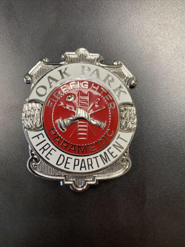 Oak Park Department Firefighter Paramedic Badge Blackington Enamel Rare
