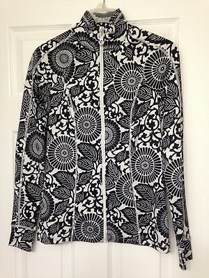 Women's Black and Innocent Geometric Floral Stretch Activewear Jacket - extra small