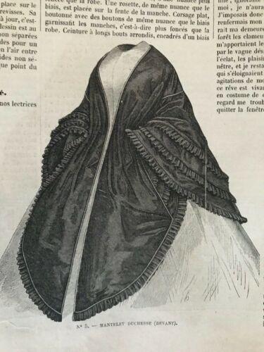MODE ILLUSTREE SEWING PATTERN April 27,1861 - Mantelets, Pardessus,