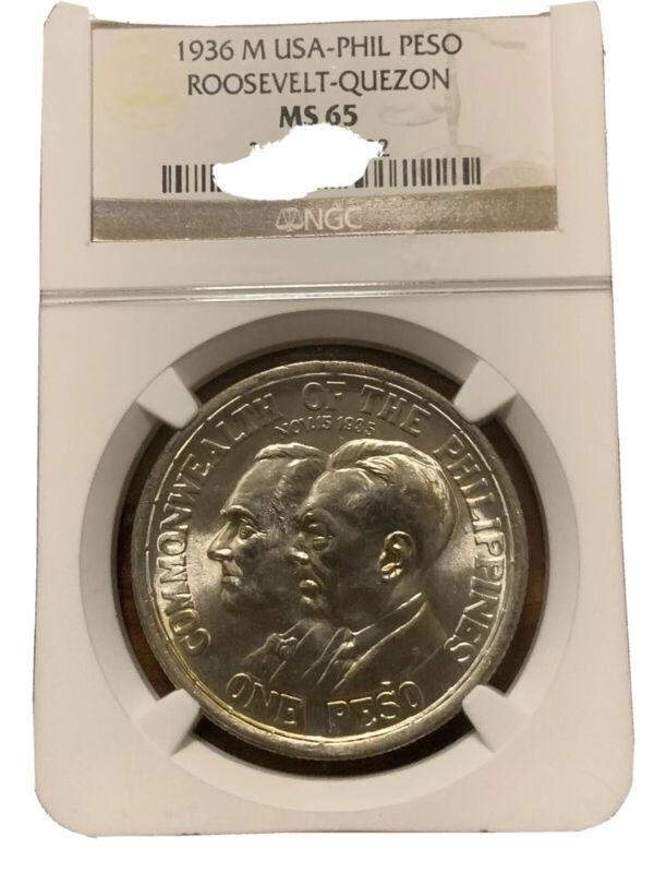 1936 M US-PHIL Peso Roosevelt Quezon NGC MS-65