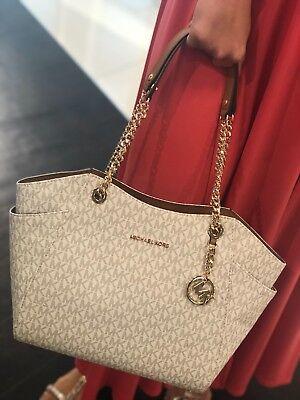 NWT Michael Kors Susannah Vanilla PVC Large Shoulder Tote Bag Purse Travel Chain