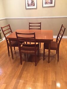 Teak Dining Set - Table & 4 Chairs - Mid Century  - CONDO SIZE