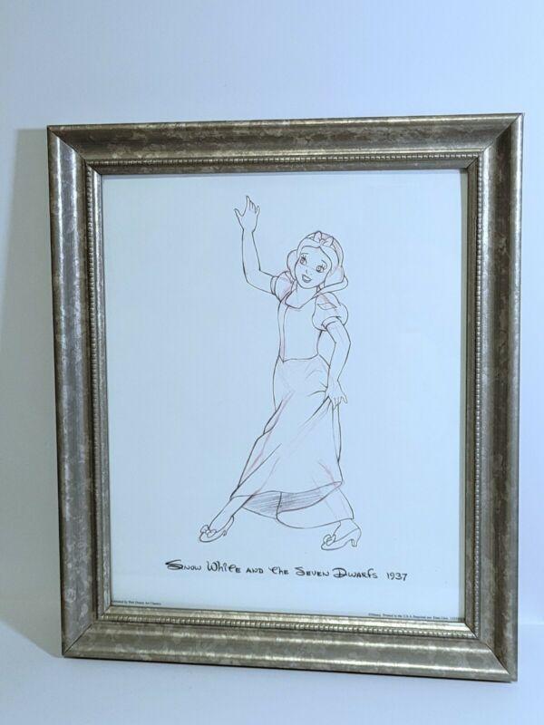 Disney Snow White And The Seven Dwarfs 1937 Framed Sketch Print