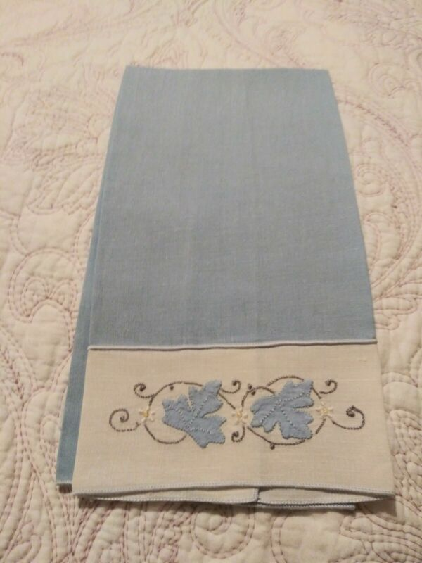 """Gorgeous Medium Blue Madeira Applique & Embroidered Linen Hand Towel 19"""" by 11"""""""