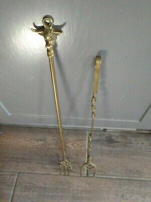 2x Vintage Brass Toasting Forks, 1 Twist & 1 with Bulls Head Top