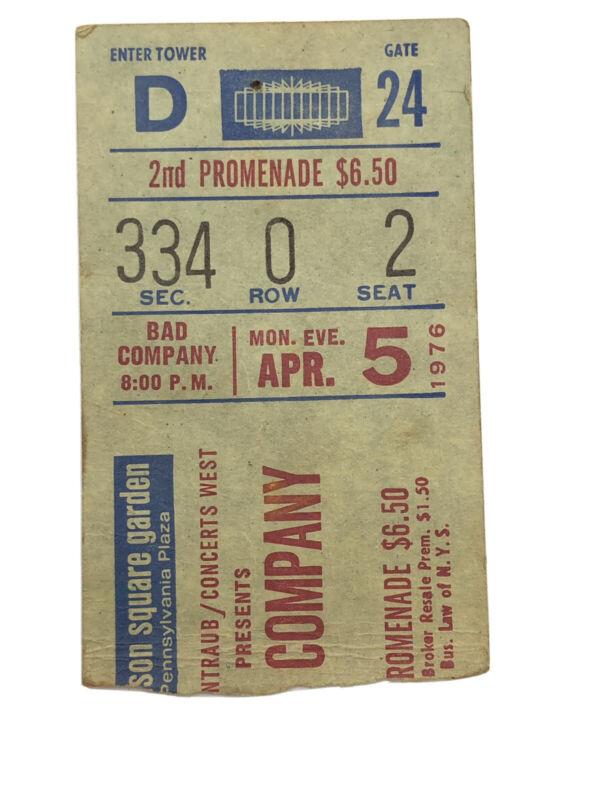 Bad Company Concert Ticket Stub Madison Square Garden April 5 1976