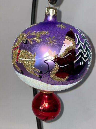 Christopher Radko Mercury Glass  Santa with Sleigh Event Ornament Drop Ball