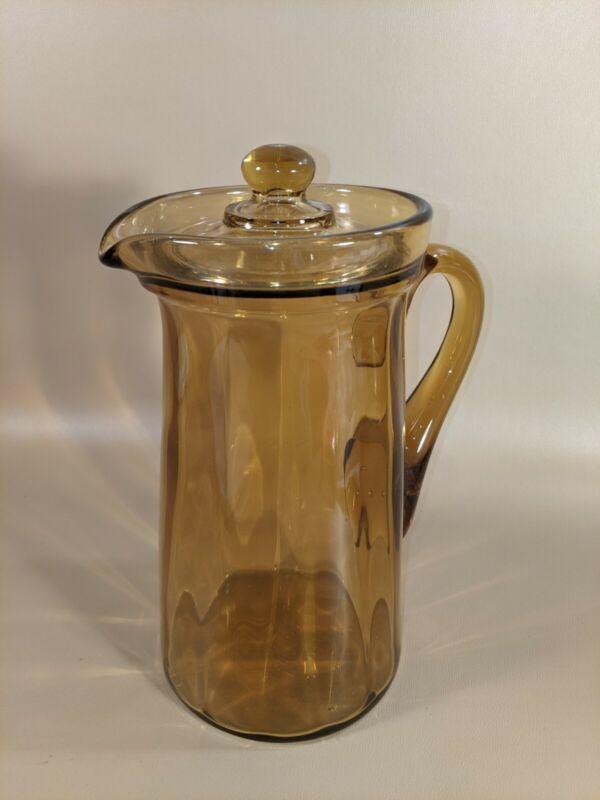 Vintage Lidded Amber Glass Pitcher
