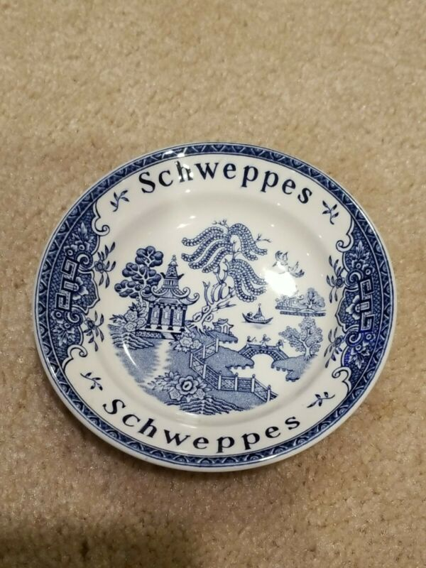 Vintage Enoch Wedgwood Blue Willow Schweppes Coaster Tip Dish England 4.75""