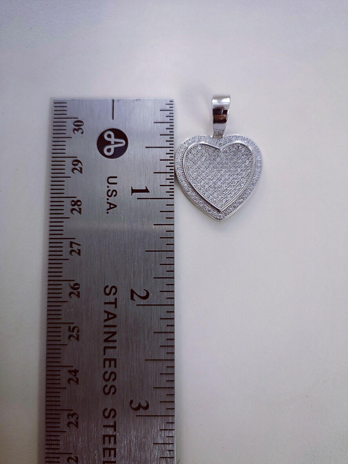 1 Ct Diamond pendant with Chain Woman's Heart Diamond Necklace 14K White Gold 3