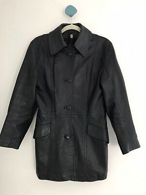 Black Leather Lambskin Proudfoot Jacket Coat Size 14 Retro 80s/90s