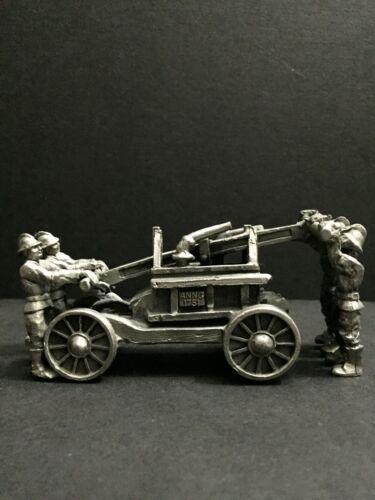 Fire Brigade 1751 Pumper Hose Wagon Pewter Metal Diorama Miniature Art Figurine