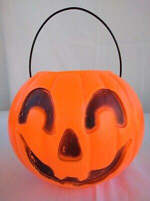 Vintage Union Products Jack O Lantern Pumpkin Candy Bucket Pail Blow Mold