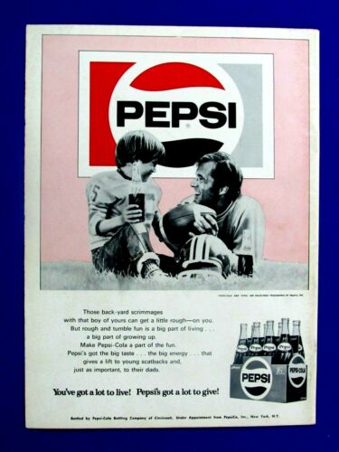 1969 Pepsi Cola 16 Oz Dad & Son Back Yard Football Original Print Ad 8 x 11""