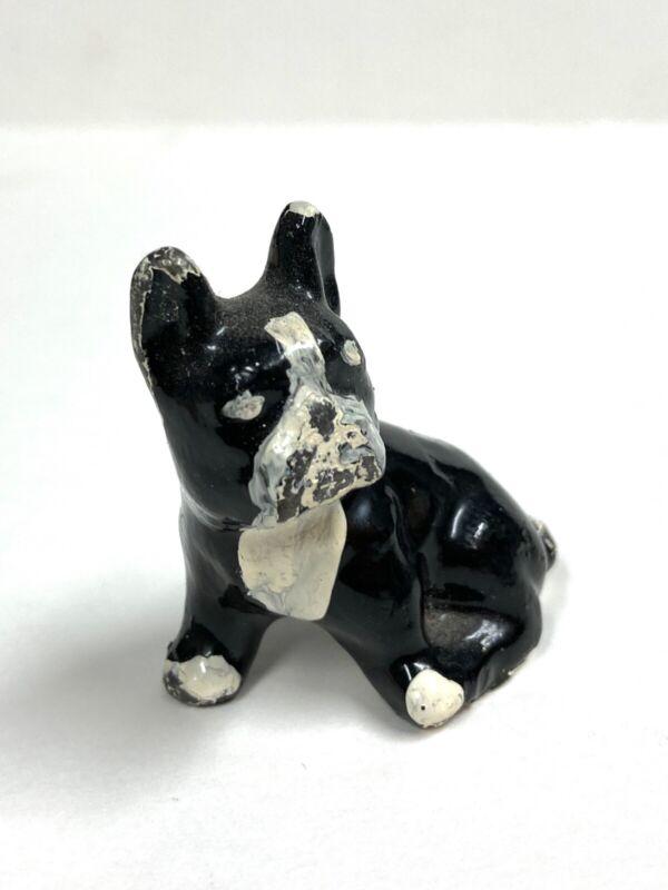 ANTIQUE MINIATURE BOSTON TERRIER FRENCH BULLDOG BLACK/WHITE FIGURINE dogs animal