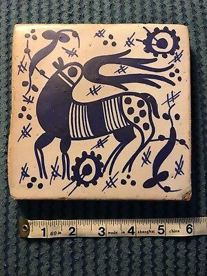 Antique Manises Blue White Clay Floor Tile Large 6 Mythical  Animal Signed