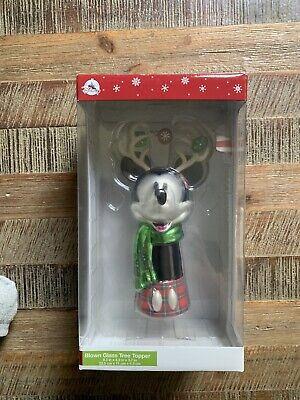 Disney Parks Mickey Mouse Reindeer Blown Glass Christmas Tree Topper