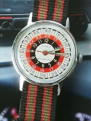 Vintage Mens 1973 Bulls eye roulette wheel military Timex Sprite Watch excellent
