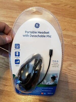 GE 3-in-1 Portable Headset with Detachable Mic (Detachable Microphone)