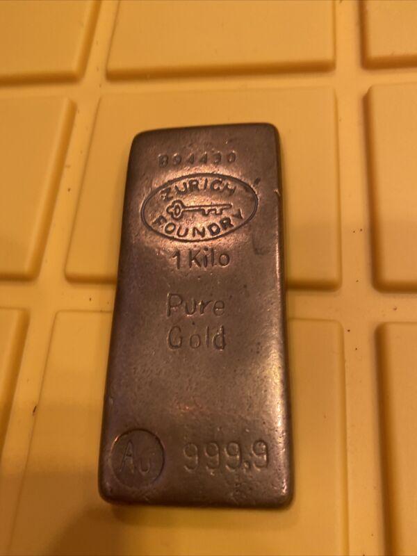 Zurich Foundry FAKE Gold Bar 1 Kilo Brass B94430 The Gold Mine Souvenir Vintage