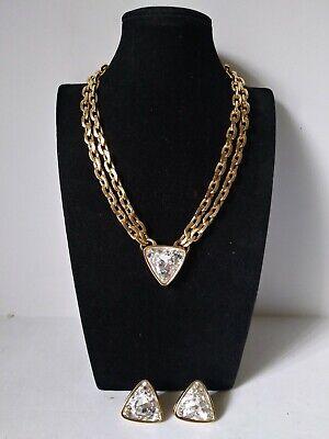 Swarovski Goldtone Necklace Earrings Set  Crystals HUGE UNIQUE