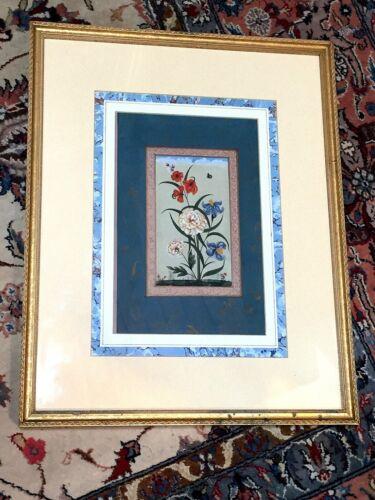 ANTIQUE PERSIAN MINIATURE PAINTING FLOWERS WITH BUTTERFLY - VERY NICE - 1 OF 2