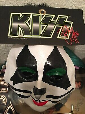 Kiss Halloween Face (1996 KISS Peter Criss Rubber Halloween Mask NWT over the face mint shape)