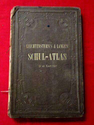 1874 SCHUL-ATLAS / SCHOOL / 45 2 PAGE PLATES / TEACHING GEOGRAPHY / GERMAN