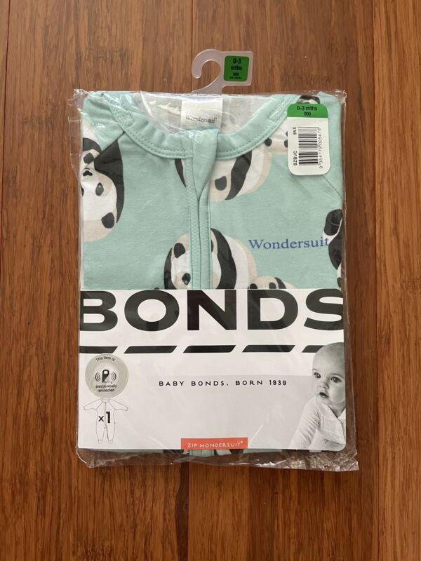 Bonds Baby Panda Parade Green Zip Wondersuit Size 000 BNIP