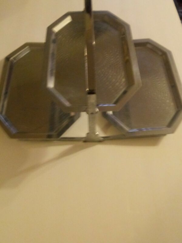 Vintage Mid Century Retro 3 Tier Chrome Clamshell Folding Tray Tidbit Metal