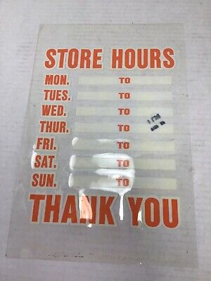 Static Cling Business Hours Door Window Store Sign Hy-ko