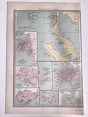 Asia, Hong Kong, Penang, Perim Island Aden 1874 Original Antique Map Bartholomew
