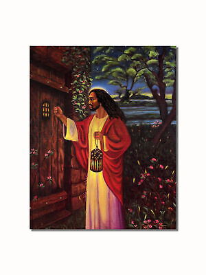 African American Black Jesus Knocking at Your Door Wall Picture 8x10 Art Print ()