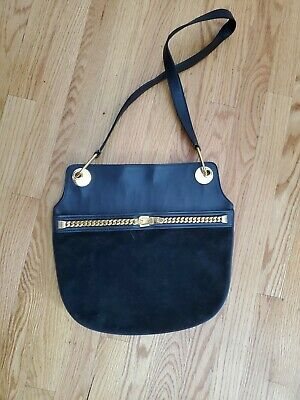Vintage Gucci 1960's black Suede Leather Shoulder Bag with Gold Chain Detail