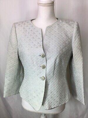 ARMANI COLLEZIONI Lined Textured Cotton/Silk V-Neck 3/4 Sleeve Blazer Jacket 6