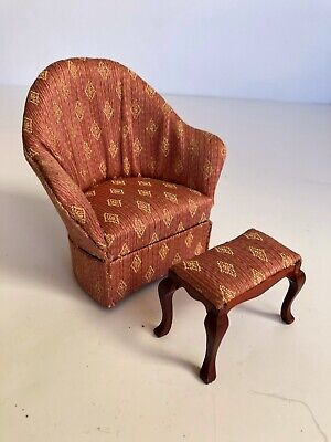 Vintage Dolls House Miniature Arm Chair & Stool Lounge Furniture T13