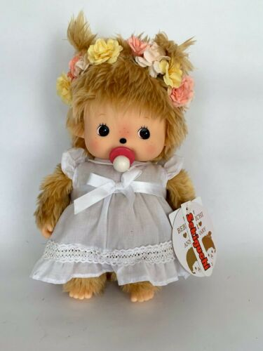 "SEKIGUCHI Bebichhichi Plush Stuffed Doll Girl 9"" Flower headband white dress"