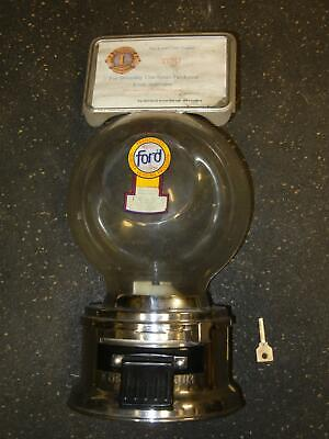 Ford Gumball Machine with Sign and Working Lock & Key Lions Club