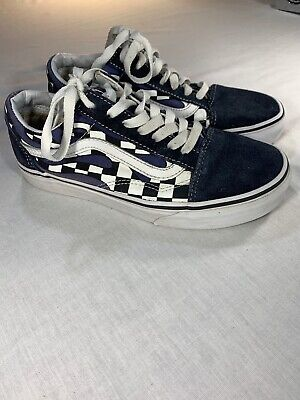 Womens Vans Old Skool Checker Flame Checkerboard Racing Navy Blue White Size 6