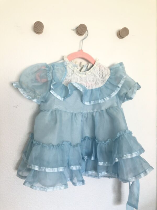 Vintage Girls Dress Party Toddler Full Sheer Lace Puff Sleeve Blue 2t Union 70's