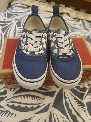 Vans Blue Checkerboard Classic Slip On Trainers Elasticated Size 1 Junior EU 32