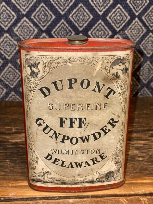 Antique DuPont Superfine FFF Gunpowder Tin, Oldest Version W, Short Brass Top!!