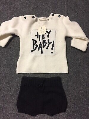 MESSAGE IN THE BOTTLE Cream/black Cotton Baby Outfit Set | Size 3-6 months