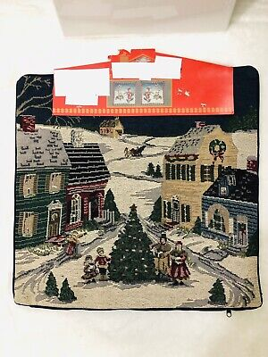 Xmas Family in Village Decor Woven Tapestry Cushion Cover Azar Ind 16 x 16