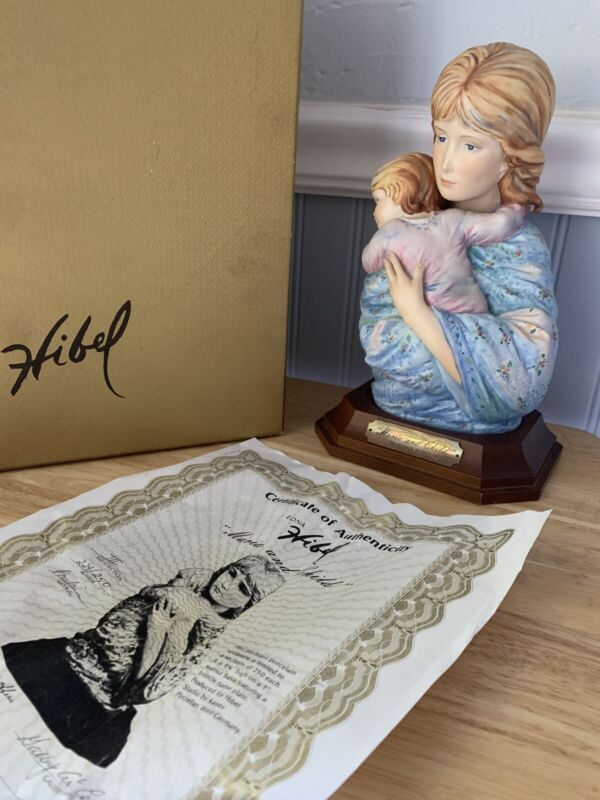 Maria and Child Edna Hibel Porcelain Sculpture with Base  & Box Limited Ed. COA