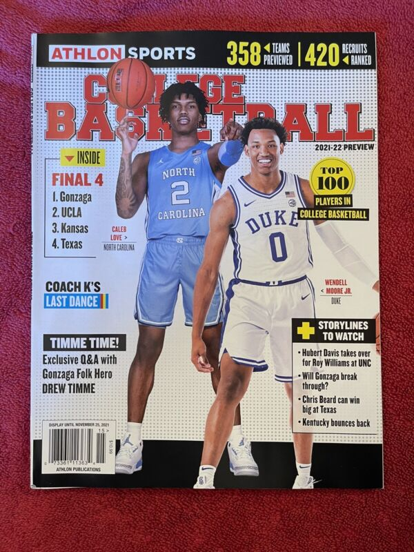 Athlon 2021-22 COLLEGE BASKETBALL PREVIEW~UNC/DUKE Cover⭐️SHIPS FREE⭐️NO LABEL⭐️